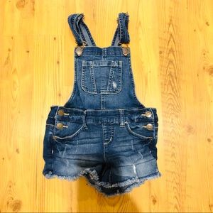 Justice Distressed Overall Shorts